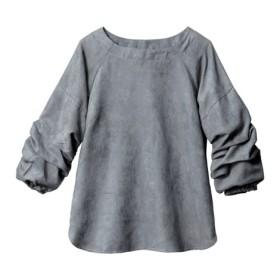 7分袖スエード調袖タックブラウス (大きいサイズレディース)