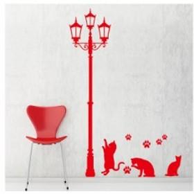 【Smart Design】オシャレな壁紙シール/街灯の下のねこ/ノリ跡が残らない/壁飾りウォールステッカー#レッド 送料込
