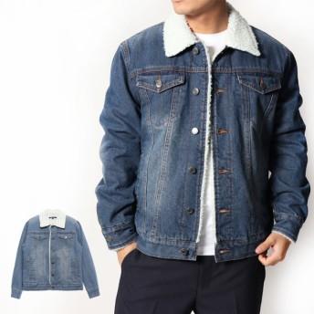 デニムジャケット - Style Block MEN ジャケット ブルゾン Gジャン ジージャン デニム 裏ボア 防寒 アウター メンズ サックス ブルー 冬先行