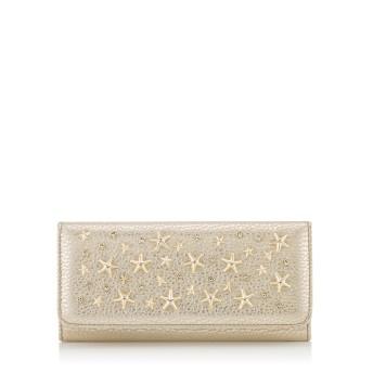 NINO クリスタル スタースタッズ付き Light Gold ウォッシュド メタリックディアスキンレザー・ウォレット