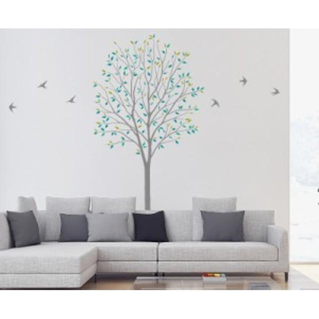 ウォールステッカー 木とツバメ グリーン Sサイズ TS-0027-AS インテリア 日本製 子供部屋 小児科 インスタ映え