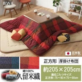 【送料無料】 久留米織り 綿100% 厚掛けこたつ布団 びわ 約205×205cm 日本製 正方形