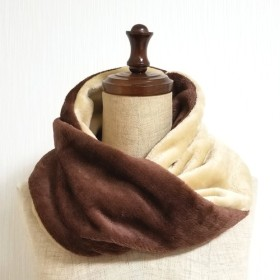 バイカラースヌード⦅brown×beige⦆