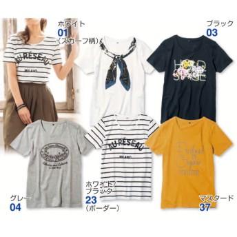 プリントTシャツ 半袖 ラウンドネック レディース