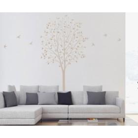 ウォールステッカー 木とツバメ ベージュ Sサイズ TS-0027-ES インテリア 日本製 子供部屋 小児科 インスタ映え