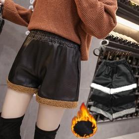 ショートパンツ - shoppinggo ショートパンツ レディース PU皮革短パン ウエストゴム 暖かい 裏起毛 切替レザーパンツ 防寒