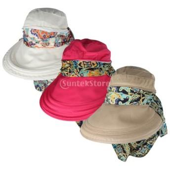 3個 女性 釣り 旅行 顔保護 UV対策 ツバ 広バイザー 折り畳み式 キャップ サンハット