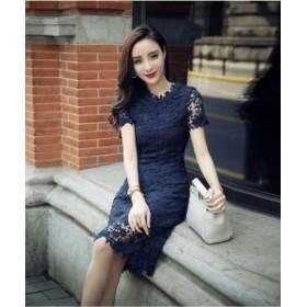 韓国ドレス 韓国ワンピース 刺繍 レース レイヤード 花柄 ブルー 青 半袖 秋 秋服 秋コーデ 結婚式 二次会 お呼ばれ