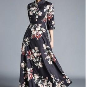 NEW ロング丈 ワンピース 花柄 七分袖 襟付き ボタン フレア  女子会 デート イベント