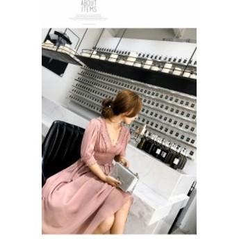 シフォンドレス スモーキー ピンクドレス 結婚式 お呼ばれドレス ワンピース パーティードレス 二次会 結婚式ドレス 30代 20代 40代 50代