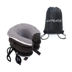枕、ピロー ネックストレッチャー 3段式 ポンプ タイプ ネックストレッチ 首 伸ばし ストレッチ洗えるカバーと収納袋 付き 旅行、家庭用 (グレー)