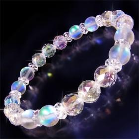 オーロラグラス&ダイヤモンドカットオーラブレスレット レディース