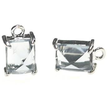 再販【2個入り】チャコールグレーカラープチ長方形Glassシルバーチャーム、ペンダント