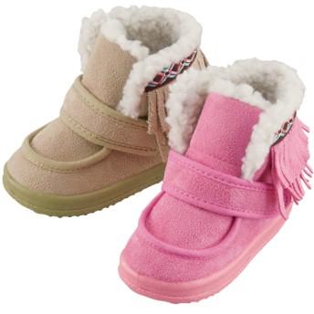 【格安-子供用靴】ベビーフリンジ付履き口ボアヨチヨチブーツ