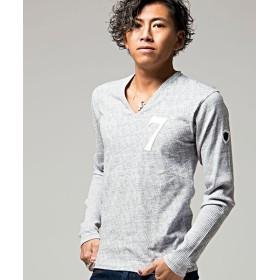 シルバーバレット VIOLA総柄プリント切替貼付けVネック長袖Tシャツ メンズ グレー Lサイズ 【SILVER BULLET】