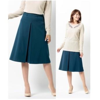 スカート ひざ丈 大きいサイズ レディース 前ゴム仕様フロントタック  106〜98 ニッセン