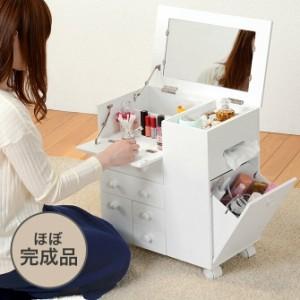キャスター付 スライド式コスメワゴン 化粧台 fj16 コスメワゴン 鏡台