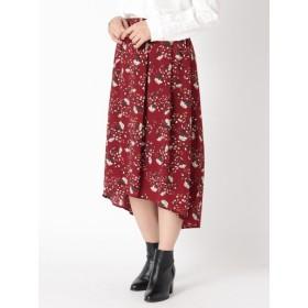 【大きいサイズレディース】【LL-3L】フラワープリントイレギュラーヘムスカート スカート フレアスカート
