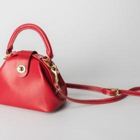 【切線派】丸のがま口バッグ 本革手作りのミニレザーショルダーバッグ 総手縫い 手持ち 肩掛け 2WAY 鞄