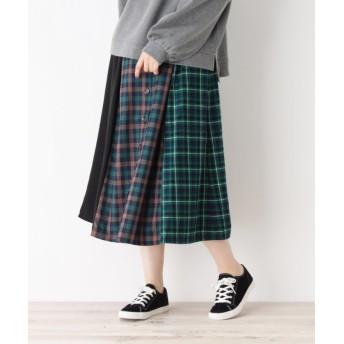 シューラルー バイカラーチェックフロントボタンスカート レディース グリーン(222) 02(M) 【SHOO・LA・RUE】