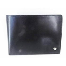 8951c7a17d91 美品 VERSACE ヴェルサーチ 二つ折り 札入れ 財布 レザー ブラック 黒 メンズ【本物保証】