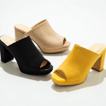 【格安-女性靴】レディースストーム付スクエアトゥ太ヒールサボミュールサンダル