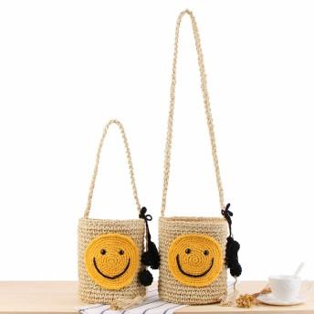 スマイル バッグ ショルダーバッグ かごバッグ トートバッグ かばん レディース 韓国 籠バッグ サマーバッグ ビーチバッグ ハンドバッグ