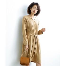 楽ちんカットソーキーネックワンピース(共布サッシュベルト付) (ワンピース),dress