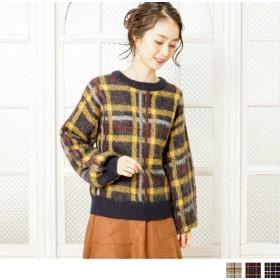 ニット・セーター - Petit Fleur 大きめ チェック 柄 と ふんわり ボリューム袖 が 可愛い レディース 長袖 プルオーバー ニット セーター (3カラー)