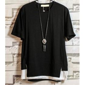 【国内即日発送】限定時限特価販売!重ね着風!メンズ大人気Tシャツブラック/ホワイト2色選べる トップス シャツ Tシャツ S/M/L/XL
