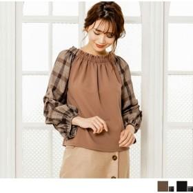 シャツ - Petit Fleur チェック × 無地 の ダブル 生地 使い が 可愛い ボリューム 段々 袖 タック 入り レディース プルオーバー ブラウス(4カラー)