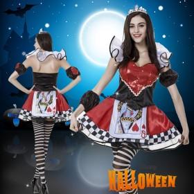 Halloween cosplayハロウィン コスチューム プリンセス 3点セットレディース クィーン変装 ハート付きトランプクイーン仮装 大人用 学園祭 女王服 パーティー服 変装 仮装