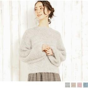 ニット・セーター - Petit Fleur モール シャギー ボリューム袖 長袖 プチハイネック レディース ニット プルオーバー セーター (3カラー)
