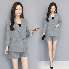 6741c66b2f 【秋冬新作】ファッションコート 新しい韓国のカジュアルなチェック柄のスーツ