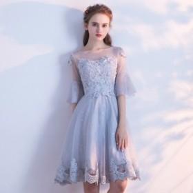 ドレス パーティー ワンピース シフォン レース 刺繍 可愛い 着痩せ ミニ丈 ミディアム Aライン 女性らしい 8663