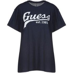 《セール開催中》GUESS レディース T シャツ ダークブルー L コットン 98% / ポリウレタン 2%