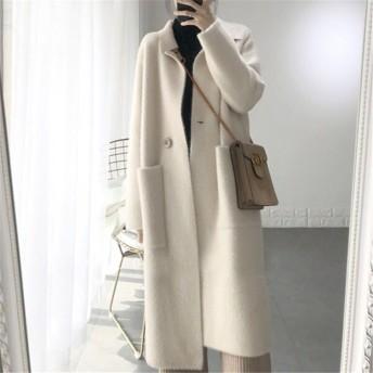 レディース 新作 コート 暖かいコート ロングジャケット 防寒 あったかい保温 ニット