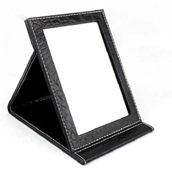 [COTARON] ミラー 携帯 鏡 クロコ柄 折りたたみ ブラック 選べる 3サイズ 大 中 小 (中 ブラック)