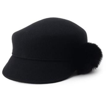 anatelier / アナトリエ ポンポンファー付きキャスケット帽