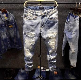 ダメージジーンズ クラッシュ ダメージジーンズ メンズ 春夏 デニム スキニー パンツ ストリートファッション 西海岸風