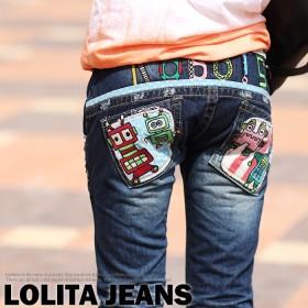 ロリータ ジーンズ LOLITA JEANS 通販 lolita jeans サイズ◆lo-1819【送料無料】ボトム デニム ストレート ロボット カラフル イラスト 刺繍 ジーンズ 美脚