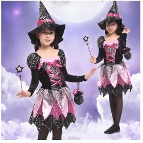 ハロウィーン 魔女 女の子 ワンピース 子供用 ジュニア 仮装 女の子 魔法使い ハロウィン 110 120 130 140cm コスチューム ハロウィン 衣装 子供 妖精 コスプ