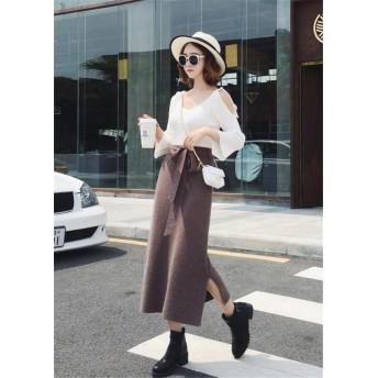 2018新品 大人気 韓国ファッション 細身 スプリット ハイウエスト スカート