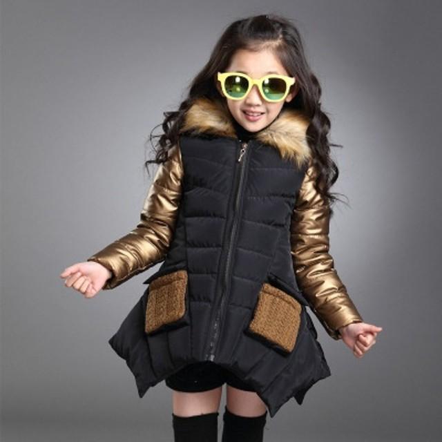 8ef6f40151f19 ウィンタージャケット キッズ 女の子 キッズコート アウター フード付き ファー付き 長袖 中綿 不規則な