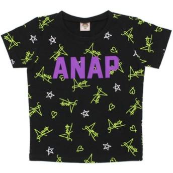 【50%OFF】 アナップキッズ ネオン総柄Tシャツ レディース ブラック 110 【ANAP KIDS】 【セール開催中】