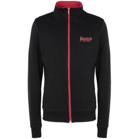 《期間限定 セール開催中》BOXEUR DES RUES メンズ スウェットシャツ ブラック S コットン 100% HIGH COLLAR FZIP WITH BACK PRINT AND FRONT LOGO