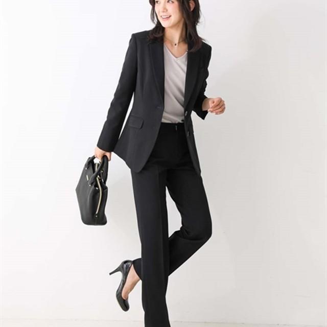 洗えるすごく伸びるロング丈テーラードジャケットパンツスーツ【レディーススーツ】 (大きいサイズレディース)スーツ,Women's Suits, 套装, 套裝  ,plus size