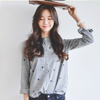 韓版 葉の刺繍 長袖ブラウス かわいい 体系カバー