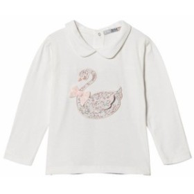 ブラウス シャツ キッズ 女の子【Dr Kid White Embroidered Swan Top with Collar】