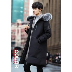 メンズファッション 男性 冬 ダウンコート アウター ロング丈 シャンパン色 ブラック 今季の部分ファー 厚手 モコモコ 韓国風 ストリート アウトドア 綿服